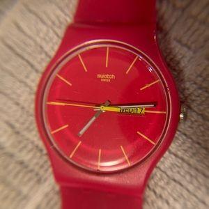 Swatch Rubine Rebel Pink Ladies Watch w/ Daydate
